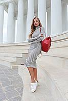 Платье в полоску с разрезом для пальчика и высокой горловиной 50mpl158, фото 1