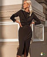 Трикотажное платье с перекрутом на талии и разрезом спереди 72mpl159, фото 1