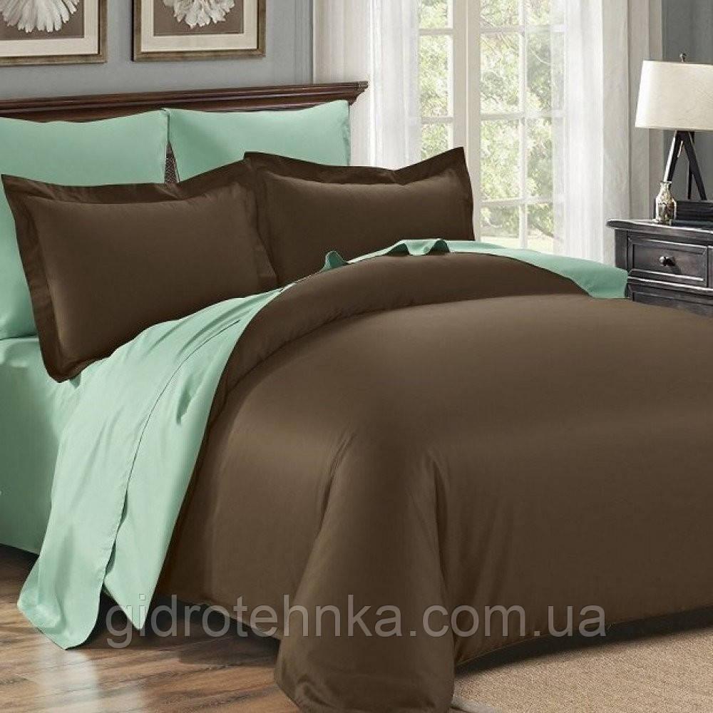 Элитное постельное белье сатин Dark Chokolate+ MINT