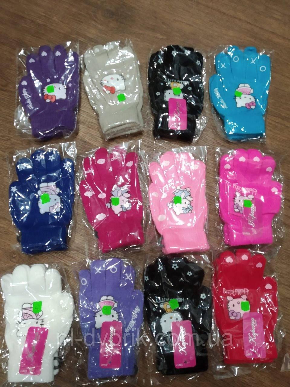 """Перчатки детские одинарные +начес для девочек """"Helloy Kitty"""" 5-7 лет  5017 M цена 45"""
