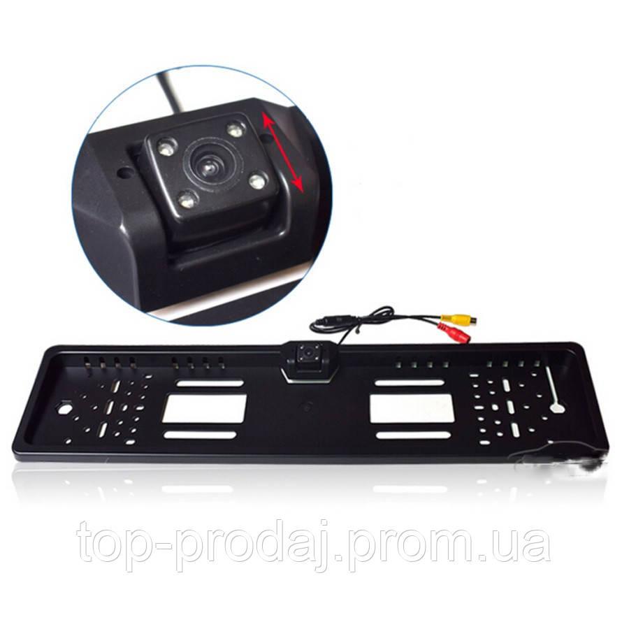 Камера заднего вида рамка A58 LED black, Камера задняяв рамке номера, Автокамера с изменением угла наклона