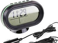 Часы автомобильные VST 7009V, Часы с выносным датчиком, Электронные Часы в авто, Часы в машину с термометром, фото 1