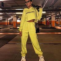 Женский трикотажный спортивный костюм с укороченным свободным худи 65msp763, фото 1