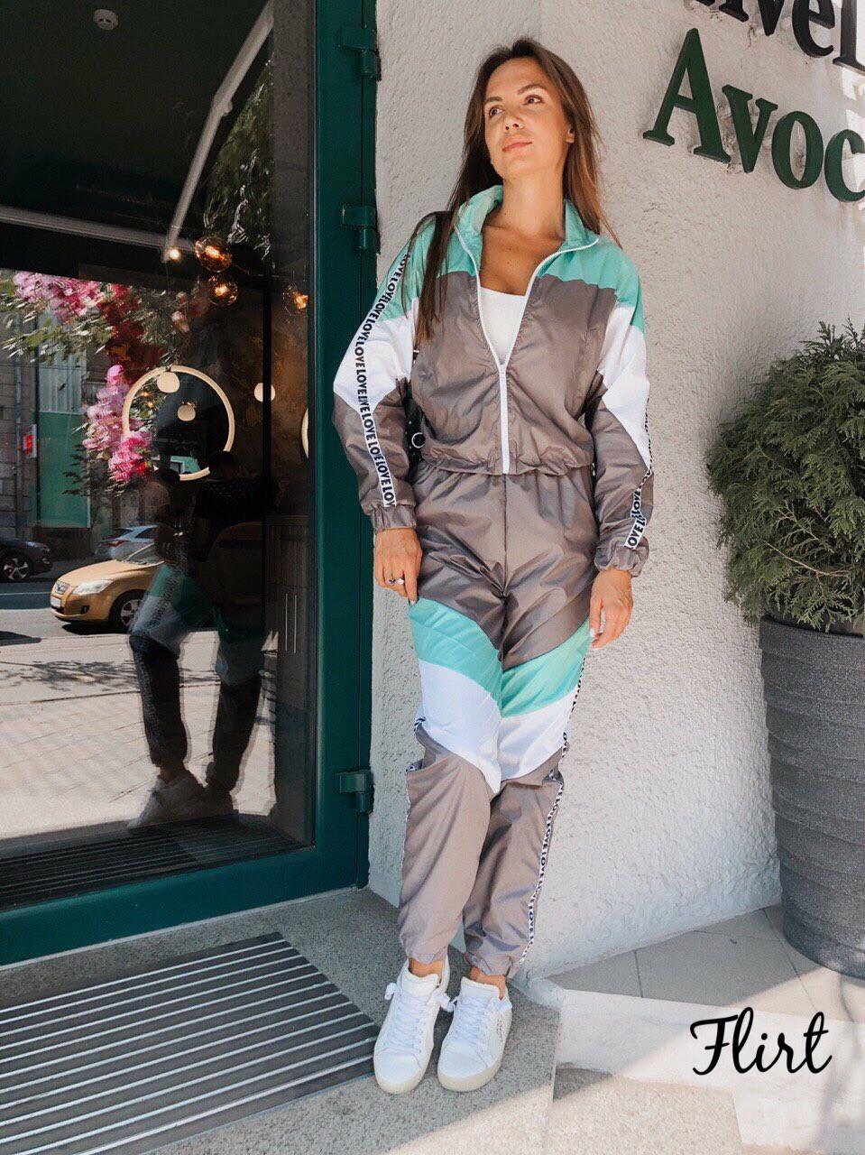 Женский спортивный костюм из плащевки с мастеркой на молнии 36msp768, фото 1