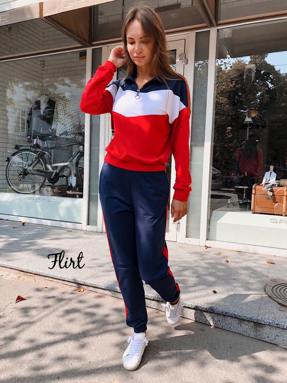 Спортивный женский костюм из двухнитки с худи  36msp769, фото 1