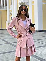 Женский юбочный костюм в клетку с юбкой - солнце и пиджаком 16mko229, фото 1