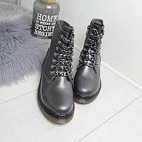 Лаковые ботинки на флисе женские на шнуровке 74OB56, фото 1