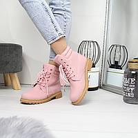 Женские ботинки из искусственного нубука на шнуровке 74OB57, фото 1