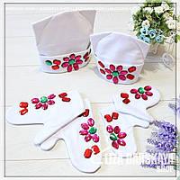 Женский утепленный набор шапка и варежки Мама и дочка 28mmd58, фото 1