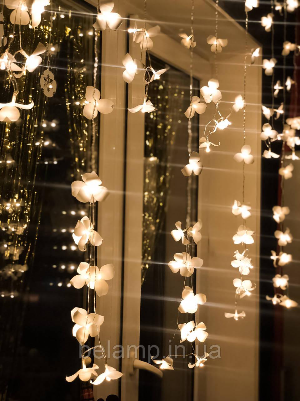 Новогодняя гирлянда Штора на окно «Ветки орхидей»