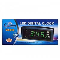Часы CX 818 green, Настольный будильник, Настольные часы электронные, Часы с термометром, Часы с подсветкой