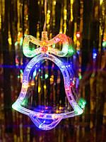 Новогодний колокольчик разноцветный: украшение на окно. цена за 1 колокольчик, фото 1