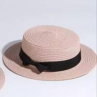 Детская шляпка соломенная светлый розовый