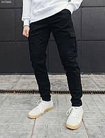 Мужские штаны карго зимние Staff cargo black TS fleece, фото 1