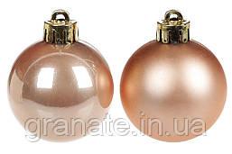 Новогодние елочные шары 4см, цвет - бежевый бархат, 48шт: перламутр и матовый