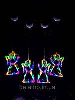 """Новогоднее подвесное гирлянда-украшение в виде ангела """"Разноцветный ангел"""". Цена за 1 ангела, фото 1"""