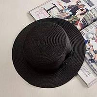 Взрослая  шляпка соломенная  черный