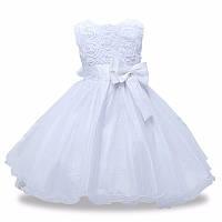 Детское нарядное платье с розочками и блестками Белое на рост 80-130 см