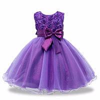 Фиолетовое детское нарядное платье с розочками и блестками