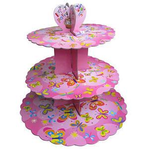Стенд трёхъярусный картонный круглый для капкейков розового цвета Empire EM 0307