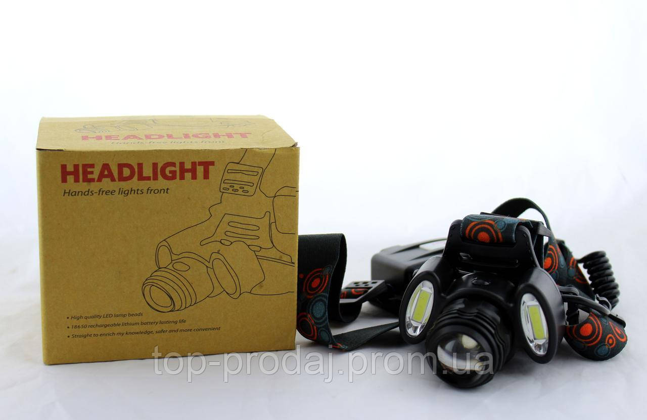 Налобный фонарь BL 862 T6+COB, Мощный фонарь на лоб с тремя светодиодами, Фонарь на голову