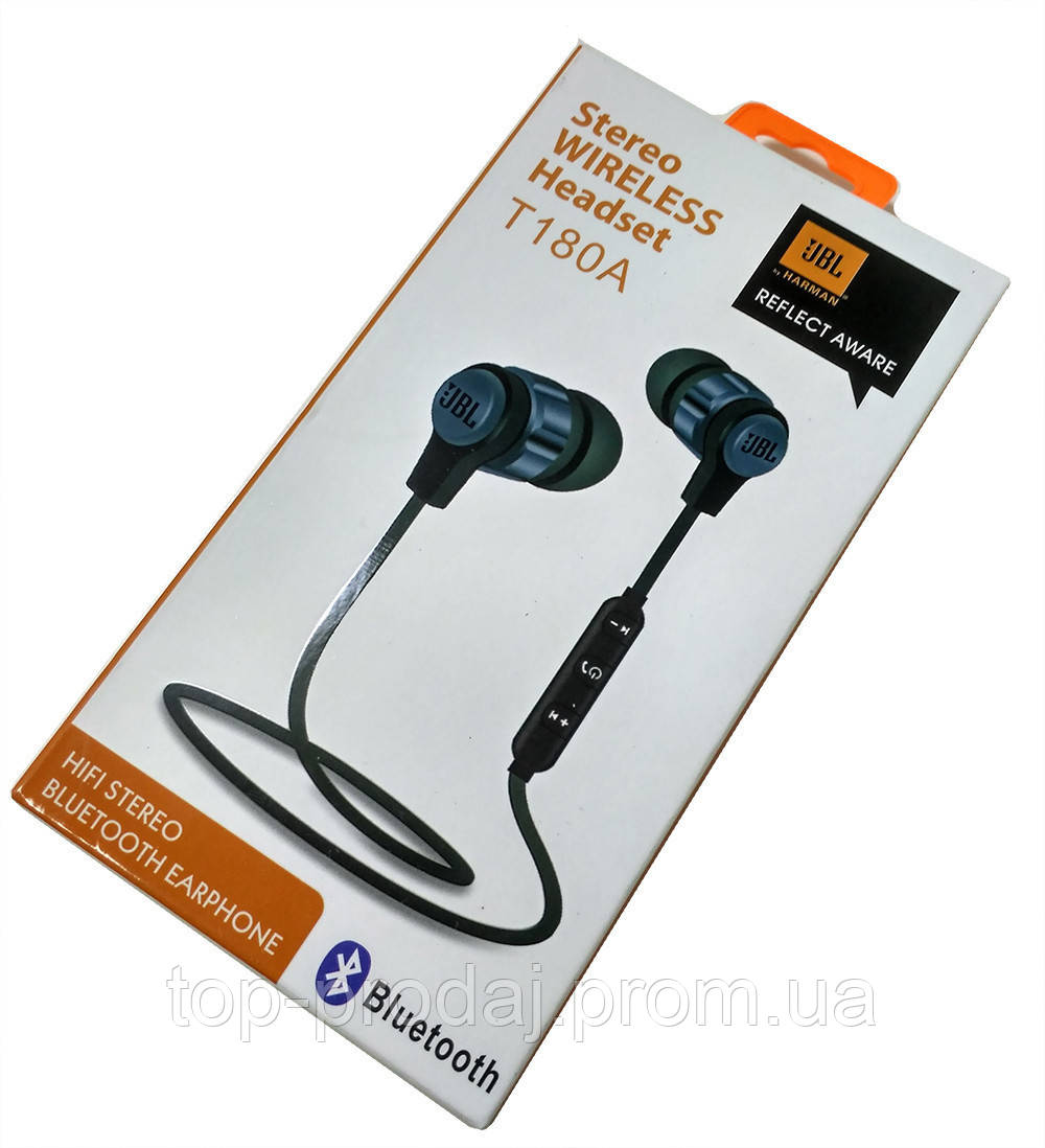 Наушники Earphone - T 180 A, Наушники вакуумные, Bluetooth беспроводные наушники, Гарнитура вакуумная
