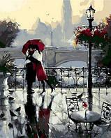 Картины по номерам 40×50 см. Поцелуй под дождем Художник Ричард Макнейл