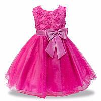 Детское нарядное платье с розочками и блестками Малиновое на рост 90-110 см