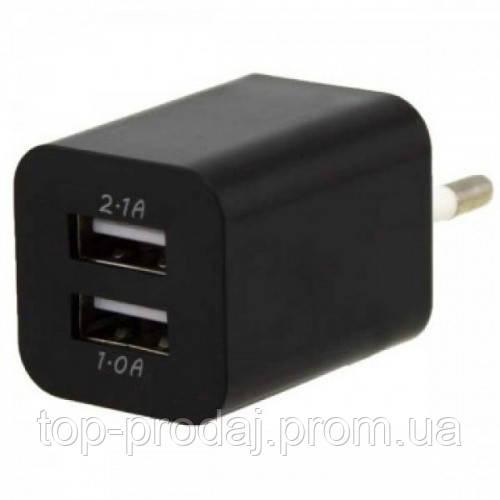 Адаптер 2100, Адаптер переходник USB 220v зарядка Double, Двухпортовый блок питания юсб, Сетевой адаптер