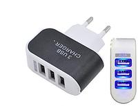 Адаптер на 3 USB, Зарядное устройство СЗУ адаптер, Сетевой адаптер питания трехпортовый, Блок питания юсб