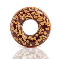 56262 Круг 114см Пончик шоколад, Надувной шоколадный пончик, Круг для плавания, Большой круг для плавания