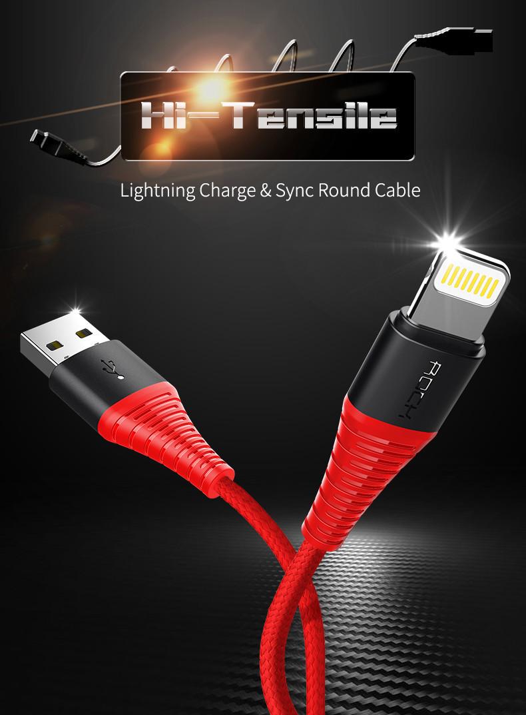 ROCK Оригінальний кабель Lightning для iPhone в обплетенні 1.2 метра. Чорний