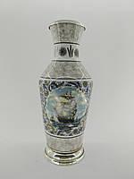Антикварна японська керамічна ваза з клеймом і сріблом