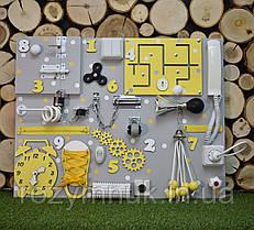 Развивающая доска Бизиборд размер 50*65  Лучший подарок бизиборд желтый с телефоном