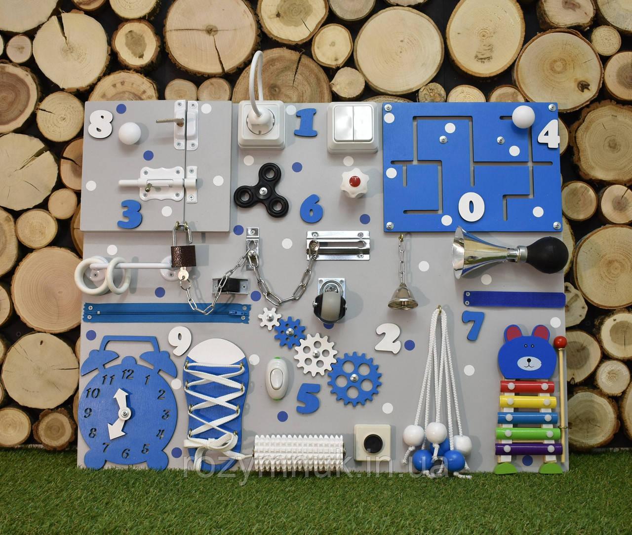 Развивающая доска Бизиборд размер 50*65 Бізіборд busyboard синего цвета для мальчика