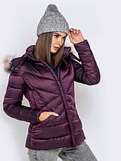 Укороченная зимняя женская куртка приталенного силуэта сиреневьій размер 42 44 46 48 50, фото 2