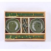 """Набор посуды для суши """"Sakura"""" A0010, размер 24х17 см, в комплекте 6 предметов, материал керамика / дерево, в коробке, набор аксессуаров для суши"""