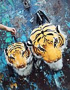 Плюшевый 3D рюкзак с головой тигра (большой)