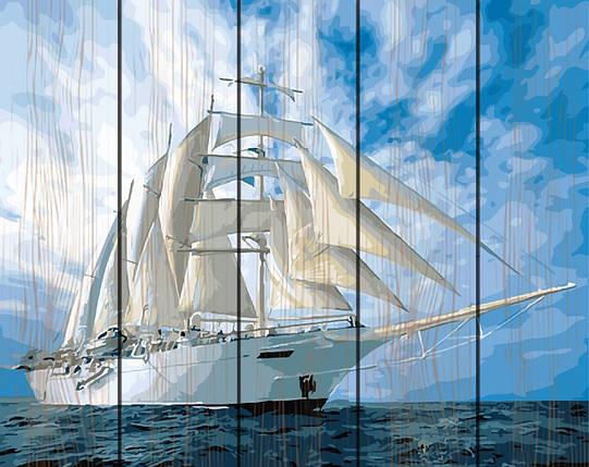 PREMIUM Картина по номерам на дереве 40х50 см. Белые паруса Rainbow Art, фото 2