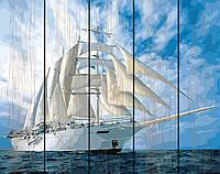 PREMIUM Картина по номерам на дереве 40х50 см. Белые паруса Rainbow Art