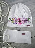 Комплект для девочек Шапка + Снуд Цветочки хлопок Nikola Польша