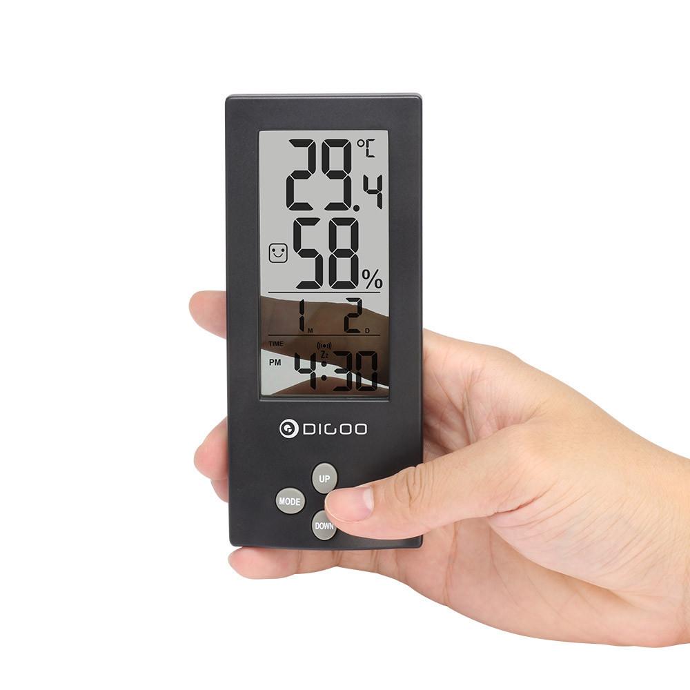Часы с функциями метеостанции для дома Digoo DG-TH1177 прозрачные. Черные