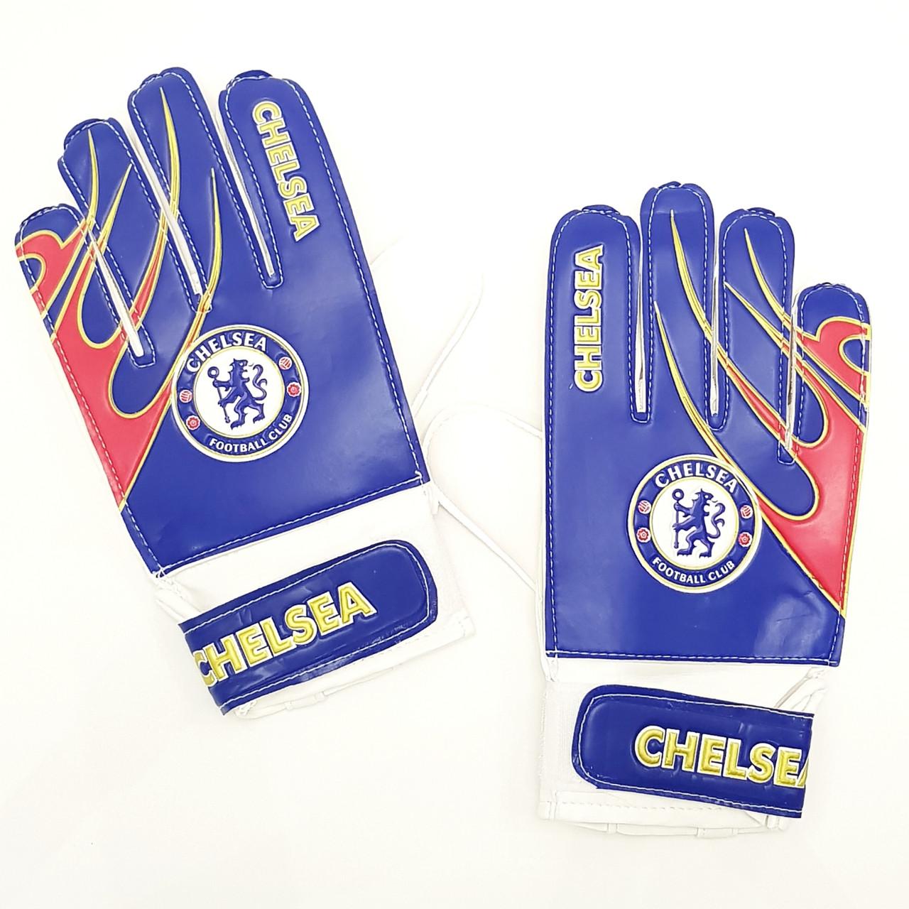 Перчатки вратарские юниорские FB-0029-03 CHELSEA (PVC, р-р 5-7, синий-красный-белый)