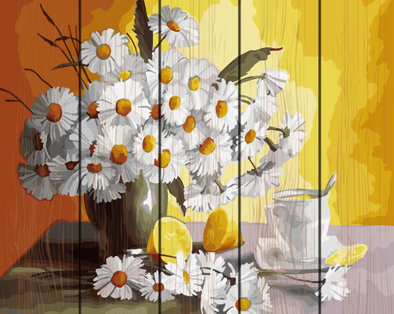 PREMIUM Картина по номерам на дереве 40х50 см. Чай с лимоном и ромашки Rainbow Art
