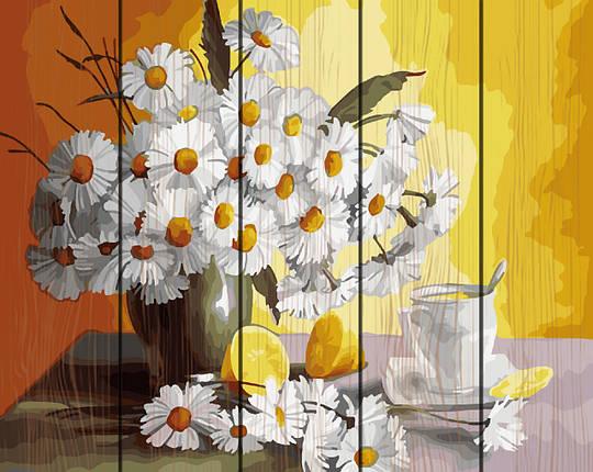 PREMIUM Картина по номерам на дереве 40х50 см. Чай с лимоном и ромашки Rainbow Art, фото 2