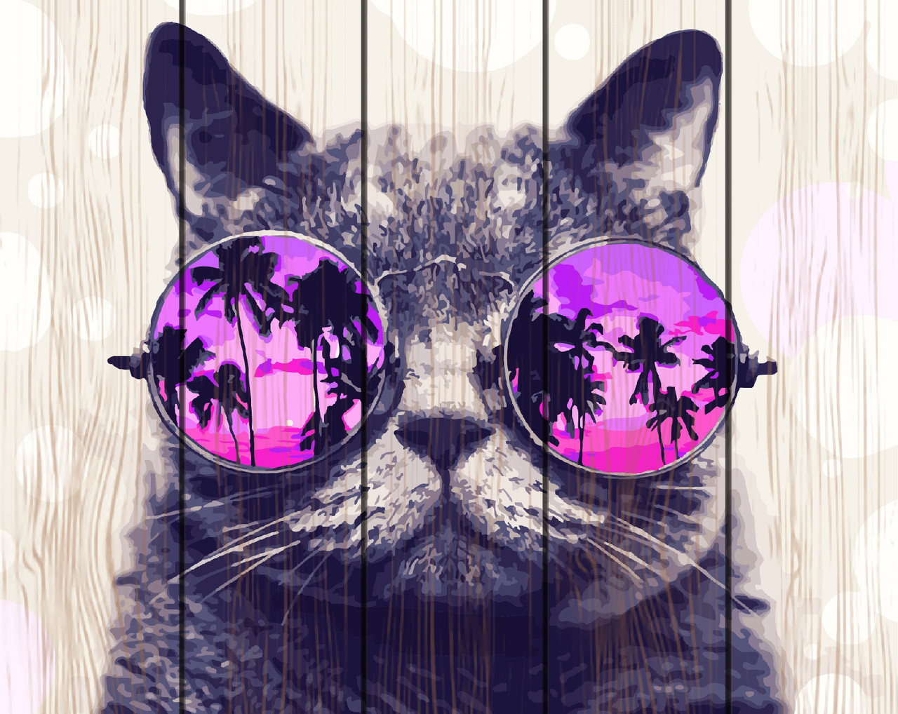 PREMIUM Картина по номерам на дереве 40х50 см. Кот в очках.Тропики Rainbow Art