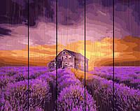 PREMIUM Картина по номерам на дереве 40х50 см. Закат над лавандовым полем Rainbow Art
