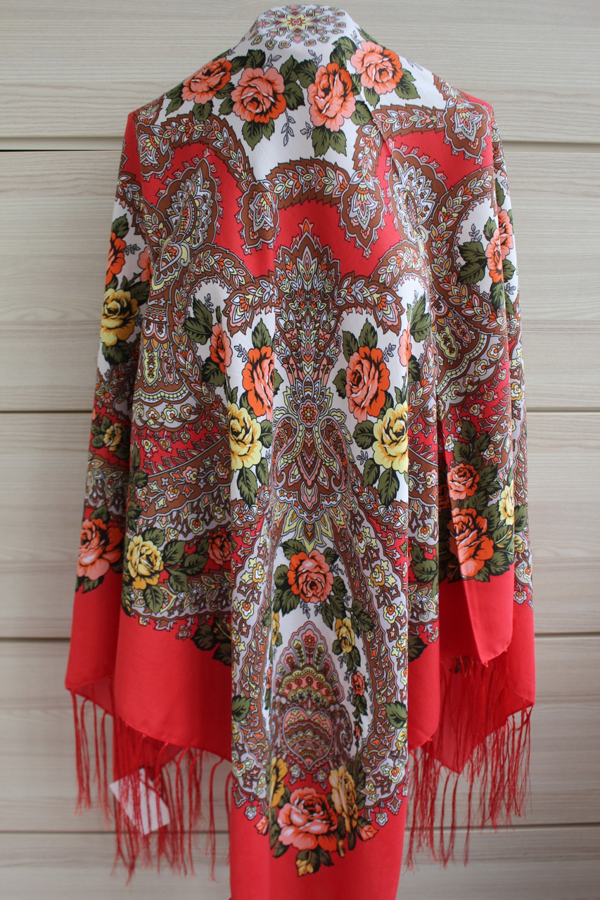 Платок павлопосадский красный шерстяной (140см) 606004