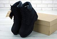 Ботинки мужские Timberland  нубуковые черные без меха тимберленд