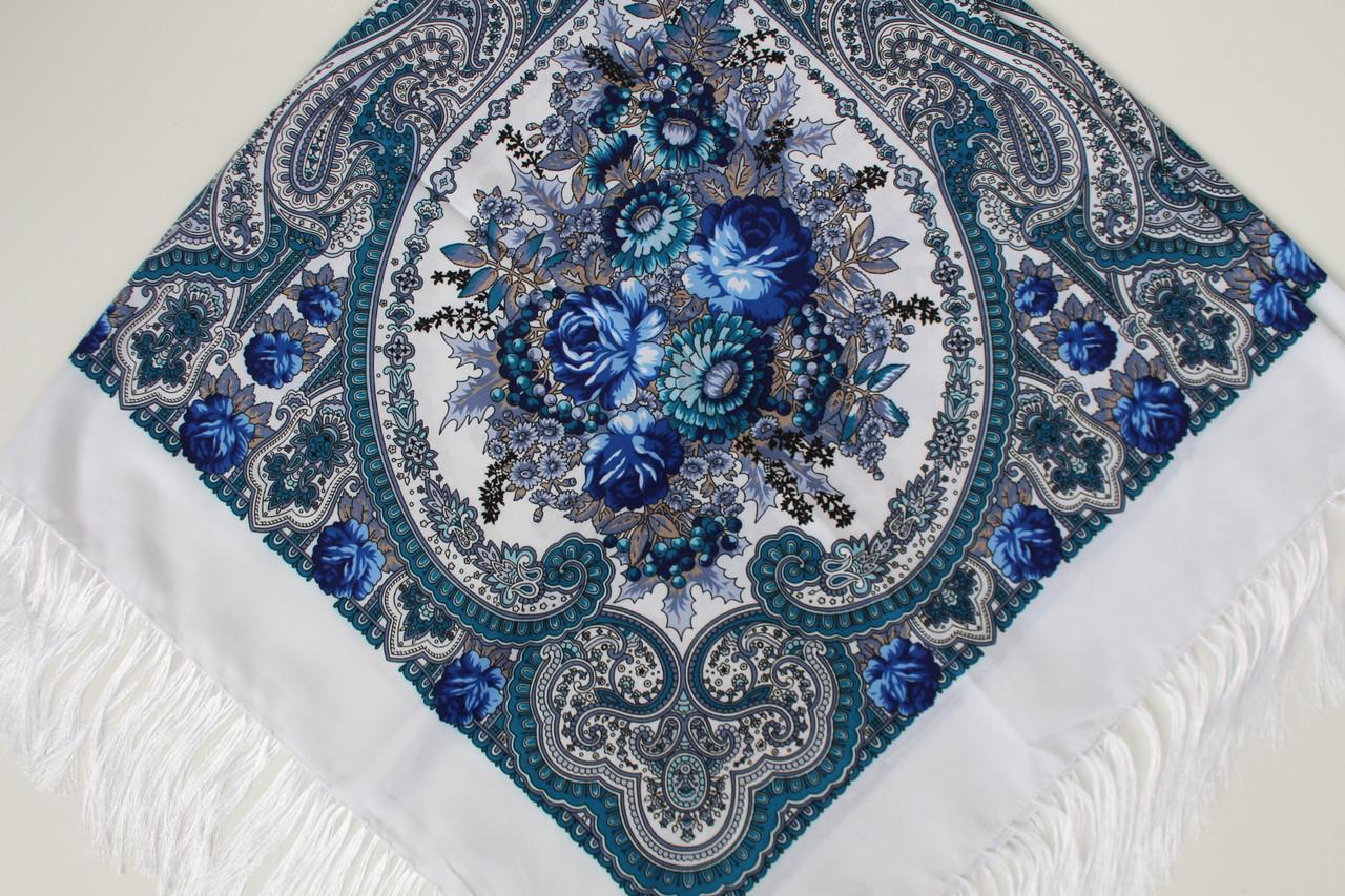 Платок павлопосадский белый шерстяной (140см) 606009